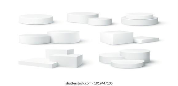 Set of realistic white blank product podium scene isolated on white background. Vector illustration EPS10