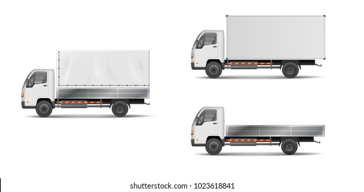 Set of realistic white cargo vehicles. vector illustration with heavy truck, trailer, lorry, delivery van isolated. Side view mockup.