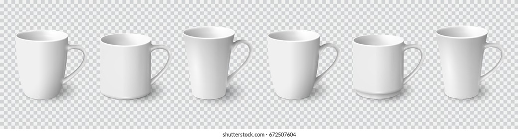 Set of realistic white coffee mugs isolated on transparent background. Vector templates for Mock Up. Vector illustration