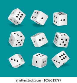 Set of realistic white game dice in different positions. Gambling game, casino. Hobbies, professional occupations. Collection different dice casino gambling, with random numbers. Vector illustration.