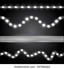 Set of realistic white neon or led glowing light stripes on transparent background. Horizontal seamless objects.