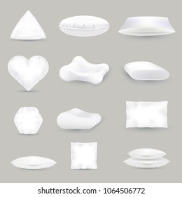 Set or realistic white pillows of different shape, vector illustration