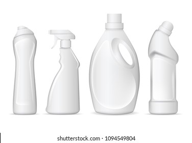 Set of realistic white plastic bottles for liquid laundry detergent, bleach, fabric softener, dishwashing liquid or another cleaning agent. Easy to place your text and brand logo. Vector illustration