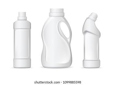 Set of realistic white plastic bottles for liquid laundry detergent, bleach, fabric softener, dishwashing liquid or another cleaning agent. Vector illustration
