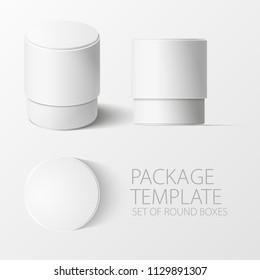 Set of realistic white round package box for products, isolated on white background, vector illustration. EPS 10