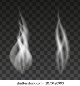 Set of realistic white smoke steam, waves from cigarettes, coffee, tea or hot food isolated on transparent background. Vector illustration.