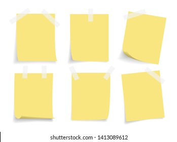 set of realistic yellow blank sticky note or label with adhesive tape and shadow. blank space memo paper for message, reminder, announcement, stationery, sign, list and notice.