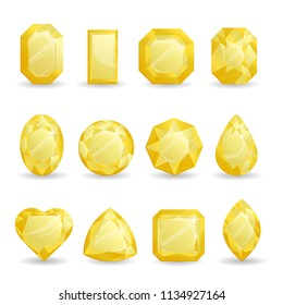 Set of realistic yellow jewels. Colorful gemstones. Light yellow citrine isolated on white background.