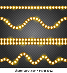 Set of realistic yellow neon or led glowing light stripes on transparent background. Horizontal seamless objects.