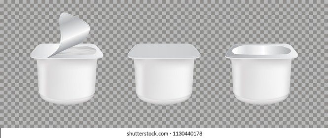 Set of realistic Yogurt in plastic cup isolated on transparent background. Mock up of White plastic pots with foil cover for yogurt and other products.