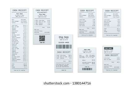 Set of receipt records, design template of bill ATM, paper financial check for mockup. realistic payment paper bills for cash or credit card transaction.