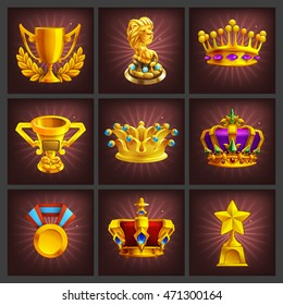 Set of receiving the cartoon golden trophies, medals, award and achievements game screen. Vector illustration.