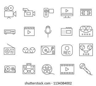 Set of Recorder Related Vector Line Icons. Contains such Icons as sound, recording, radio, voice, film and more.