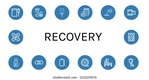 Set of recovery icons such as Hard drive, Vitamin, Intravenous saline drip, Vitamins, Powder, Plaster, Iv bag, Medical tape, Hospital bed, Intravenous therapy, Band aid , recovery