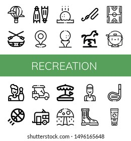 Set of recreation icons such as Hot air balloon, Canoe, Flippers, Golf, Golf ball, Fishing rod, Spring swing horse, Soccer field, Skater, Bowling, Basketball, Golf cart , recreation