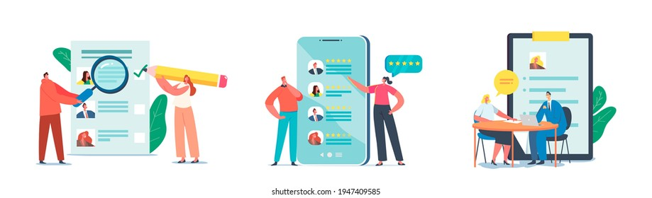 Set Recruiting Job, Interview and Human Resources. People Searching New Job Sending CV and Publishing Ads Online. Characters Using Internet Application Resource, Working. Cartoon Vector Illustration