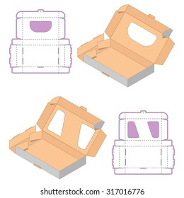 Set of Rectangle Box Design,Container die-stamping, Folding Folded Packaging, Ready Pack, No Glue Needed
