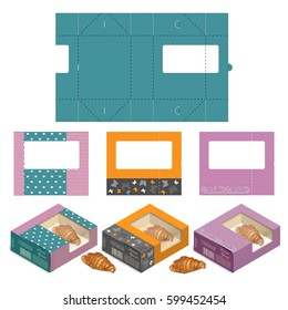Set of Rectangle Cake Box Design,Container die-stamping, Folding Folded Packaging, Ready Pack, No Glue Needed
