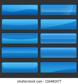 Set of rectangle horizontal shiny banner buttons with different gloss reflections over, eps10 vector, color is easy to edit