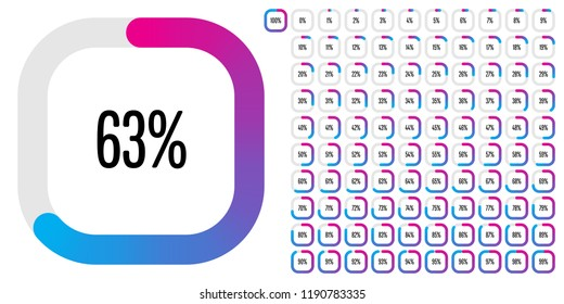 Set of rectangle percentage diagrams from 0 to 100 ready-to-use for web design, user interface (UI) or infographic - indicator with gradient from magenta (hot pink) to cyan (blue)