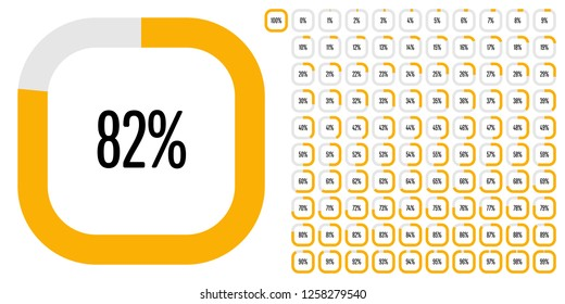 Set of rectangle percentage diagrams (meters) from 0 to 100 ready-to-use for web design, user interface (UI) or infographic - indicator with yellow