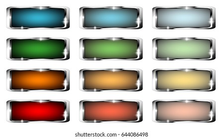 Set of rectangular backgrounds with a silver frame, with space for your text. Vector illustration.