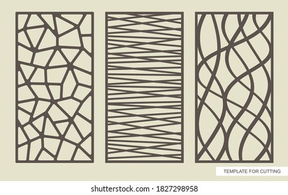 Set of rectangular panels with an abstract geometric pattern of straight and wavy lines. Template for plotter laser cutting (cnc), wood carving, metal engraving, paper cut. Vector illustration.