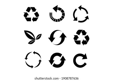 set of Recycle icon. Recycle Recycling symbol. Vector illustration. Isolated on white background.