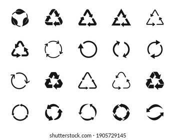 Set of recycle icon symbol vector. Recycling and rotation arrow icon pack. Ecology, cleanliness and recycling symbol. Black arrows recycle, means using recycled resources, recycling. Bio recycling.