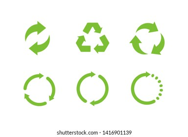 Set of Recycle Signs. Isolated Vector Illustration