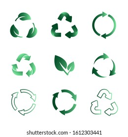Set of recycling icons. Biodegradable, recyclable, compostable, reuse icons.