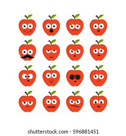 Set of red apples emoticons.