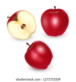 Set of red apples on white background, Ripe apples, vector illustration