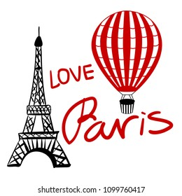 Set red Balloon and Paris Eiffel Tower isolated on white background Vector illustration