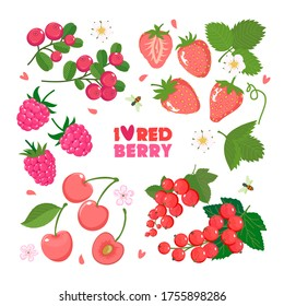Set of red berries with leaves and flowers: strawberry, raspberry, cherry, red currant, cranberry. Vector flat illustration isolated on a white background.
