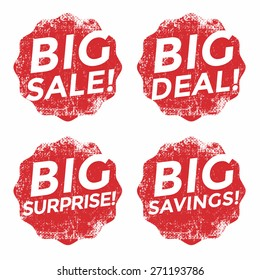 Set of red big sale grunge stamp
