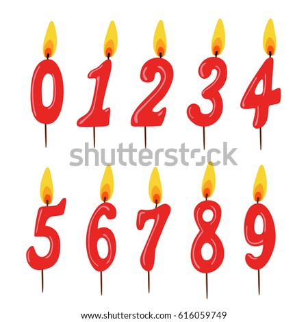 Set Of Red Birthday Candles Numbers Vector Illustration