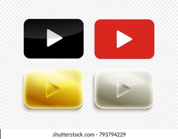 Set of Red, black, gold and silver play icon. Modern icon. Vector illustration. Isolated on transparent background
