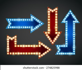 Set of red and blue arrows with bulb lamps. Vector illustration