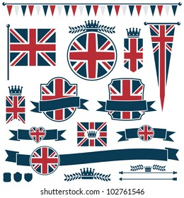 set of red and blue uk flags and ribbons, isolated on white