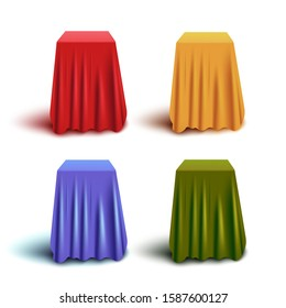 Set of red and blue, yellow and green hidden stands or boxes with fabric curtain cover, realistic vector illustration.