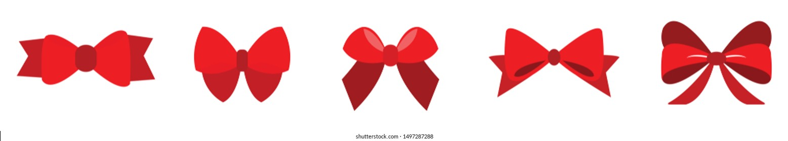 set of Red bow for celebration christmas and birthday, flat design isolated on white background,bow  for business and design. Design elements
