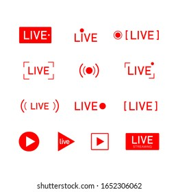 Set of red buttons and symbols live streaming icons. Online show sign. Vector illustration.
