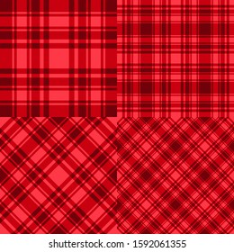 Set Red cage seamless pattern template. Vector checkered abstract backdrop. Trend collection Merry Christmas and New Year color design texture background