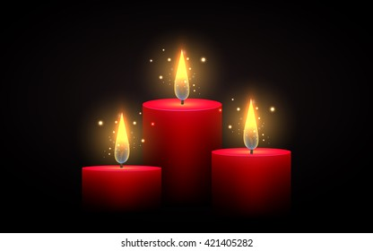 Set of red candles of different lengths. Vector element. Burning candle.