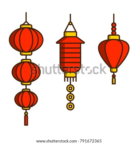 set of red chinese new year lanterns traditional red paper lanterns linear chinese new