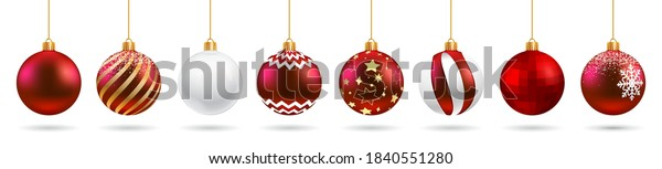 Set red Christmas ball and transparent glass with snow effect isolated on white background. Collection different Christmas ball template. New year toy decoration - stock vector
