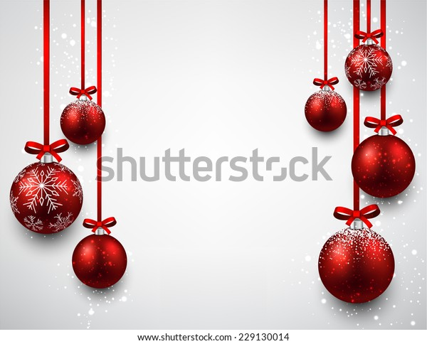 Set of red Christmas balls background. Vector illustration.