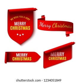 Set of red Christmas banners on white background. Stickers and ribbons. Vector illustration.