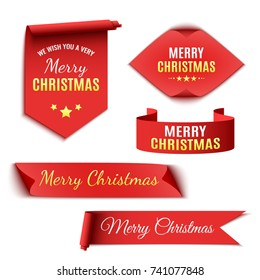 Set of red Christmas banners. Ribbons and stickers. Paper scrolls. Vector illustration.